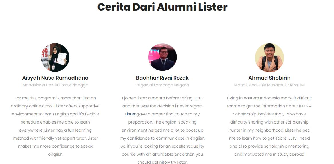 Cerita dari alumni lister