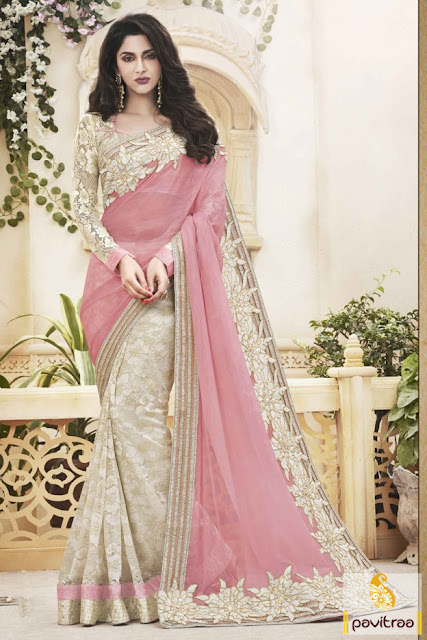 Buy online light pink and beige net saree for wedding wear with discount deal at pavitraa.in