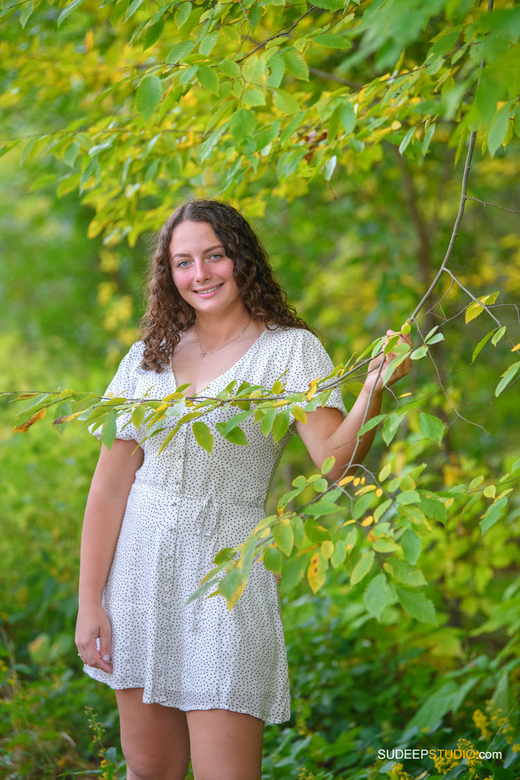 Pioneer High School Girls Senior Portrait in Nature Fall Colors by SudeepStudio.com Ann Arbor Senior Pictures Photographer