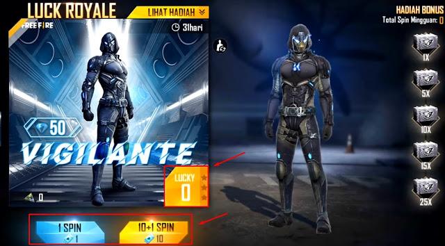 Spin Bundle Vigilante Free Fire Modal 11 Tiket Gratisan