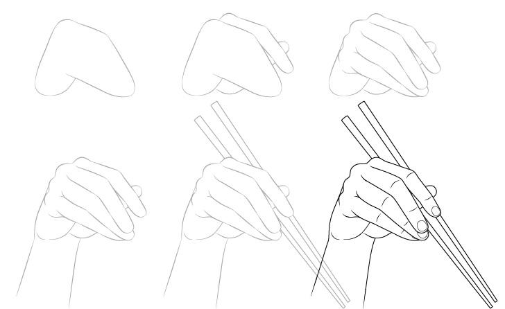 Tangan memegang sumpit menggambar langkah demi langkah