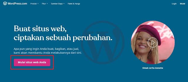 Bila halaman web sudah terbuka, Sobat klik Mulai Situs Web Anda untuk melanjutkan.