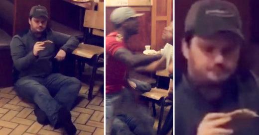 Video se vuelve viral por hombre en altercado comiendo pizza