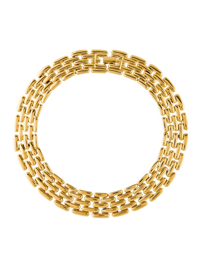 Gold-Tone Metal Givenchy Collar Necklace with Foldover Closure
