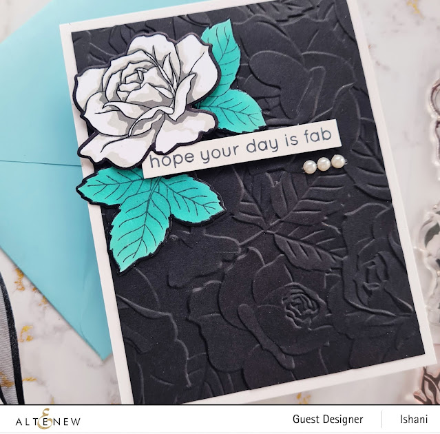 White Rose card, Embossing folder card, Craft your life Project kit - Garden rose, How to use embossing folder video tutorial,  Altenew Garden rose, Rose card, heat embossing with embossing folders,  Quillish, Ishani