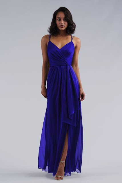 Dresses your bridesmaids will love and can wear again after the wedding - wedding dress ideas - blue belsoie tiffany chiffon long bridesmaid with v-neckline dress - wedding ideas blog - K'Mich Weddings Philadelphia - jasminbridal.com