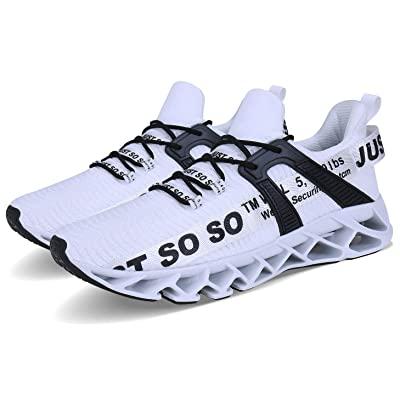 Wonesion cho nam giới thoáng khí đi bộ tennis giày chạy bộ lưỡi trượt trên, giày thể thao thời trang thông thường