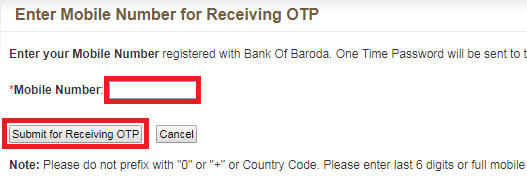 how to reset login password in bank of baroda