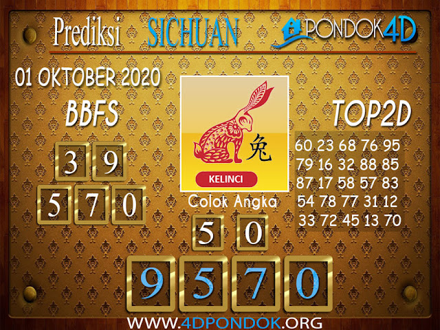 Prediksi Togel SICHUAN PONDOK4D 01 OKTOBER 2020