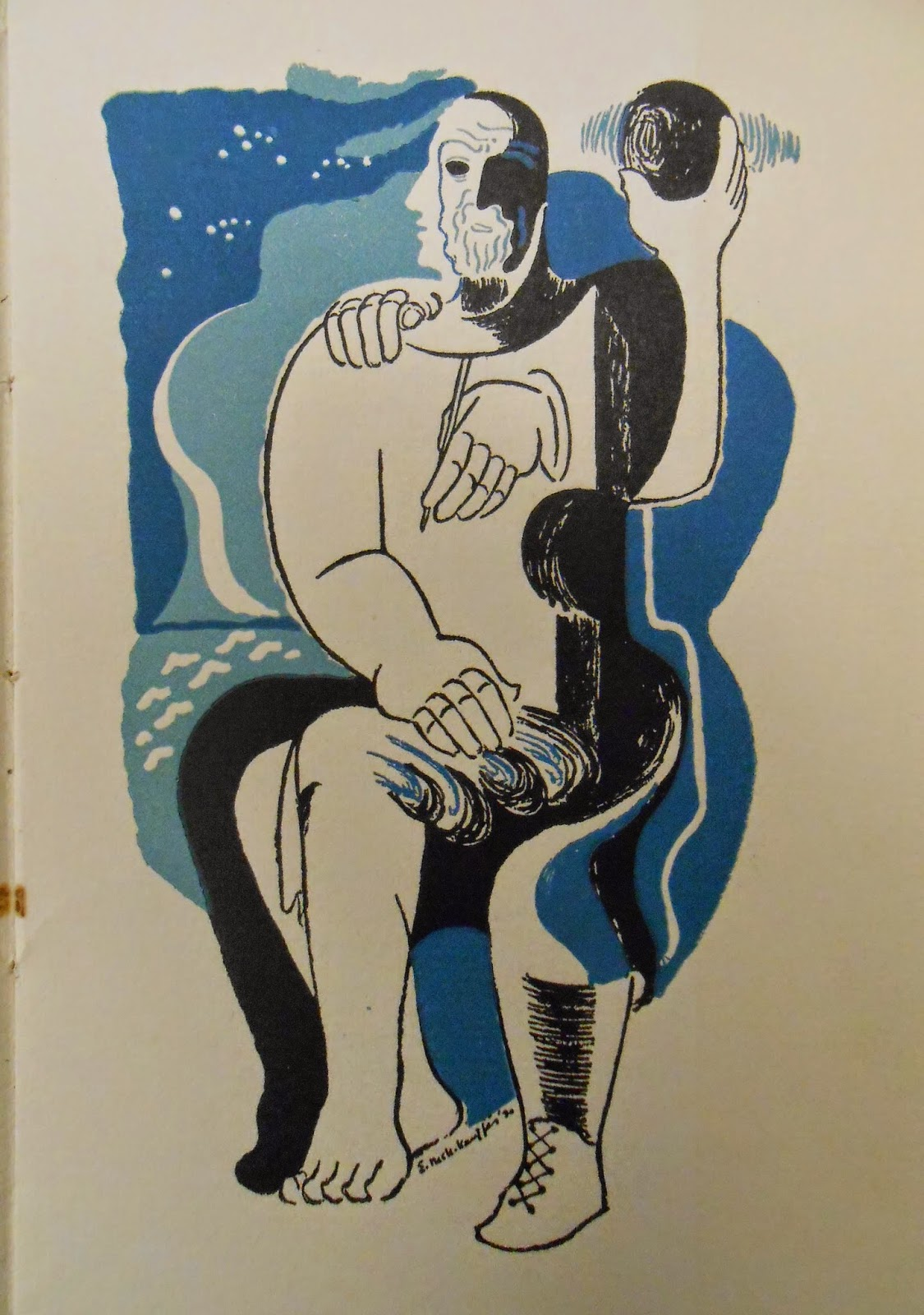 An abstract figural print in blue and black.