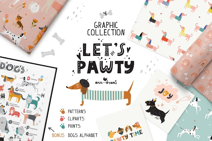 Let's Pawty. Dogs graphic collection