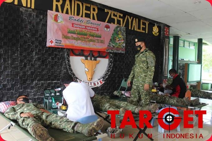 Menyambut HUT Kostrad Yang Ke-60 Yonif Raider 755/Yalet Mengadakan Aksi Donor Darah