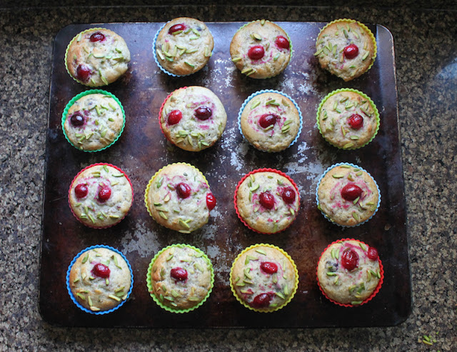 Food Lust People Love: Cranberry pistachio muffins are great on their own for breakfast or teatime, or as part of your holiday buffet table. They aren't just pretty, they are delicious as well! Maybe you've got some whole berry cranberry sauce of the jellied kind left over from Christmas. If so, these cranberry pistachio muffins make perfect use of that abundance. If not, buy a can on sale and bake these babies for your New Year's Day breakfast. I used the one from Ocean Spray (link in the post.)