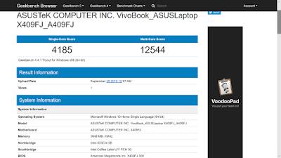 Geekbench - ASUS VivoBook A409FJ