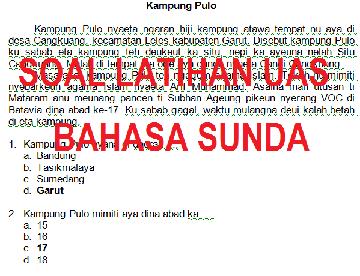 SOAL LATIHAN DAN JAWABAN UAS BAHASA SUNDA KELAS 8 SEMESTER 1