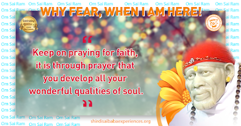 Praying With Faith - Sai Baba Picture With Quote
