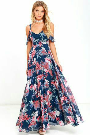 Printed long maxi dress 2017