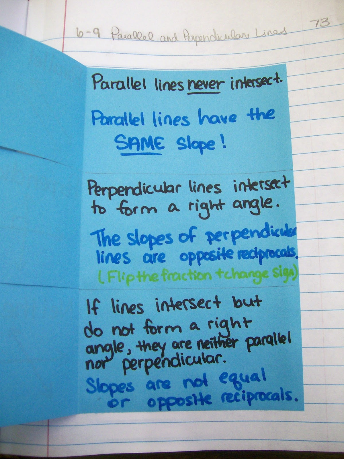 Math Love Parallel And Perpendicular Lines Foldable