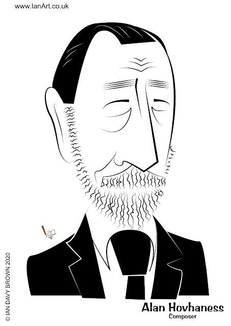 Alan Hovhaness Composer caricature cartoon by Ian Davy Brown idb ianart