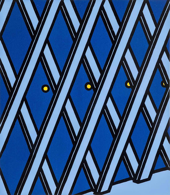 a Patrick Caulfield painting in blue and yellow