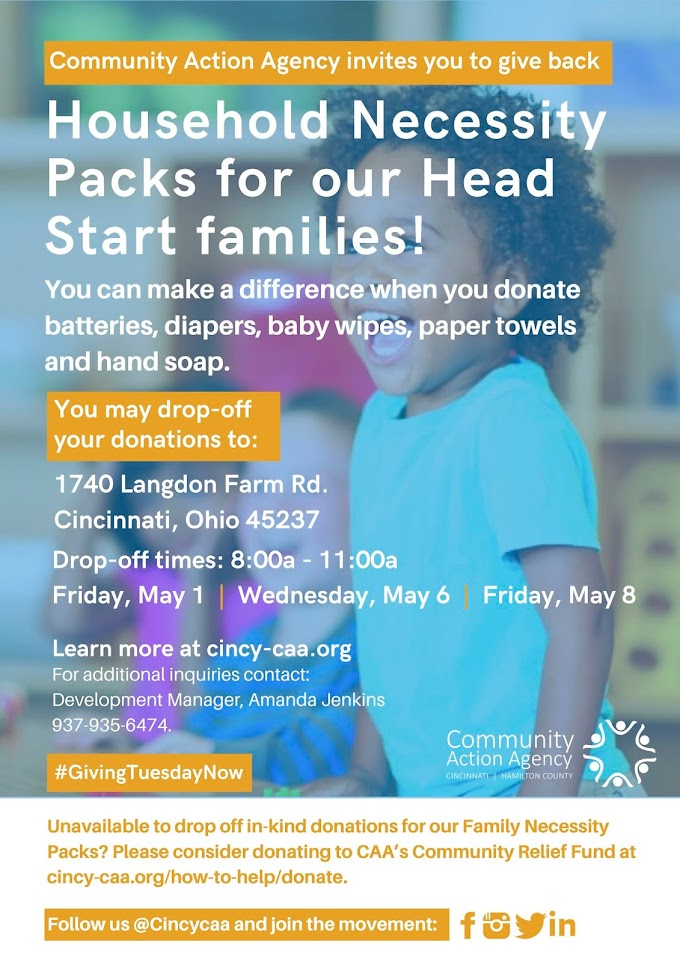 Donation Drive for Head Start Families: Family Necessity Packs