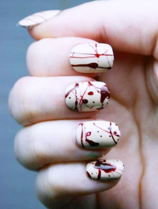Red And White Nail Art Designs For Halloween