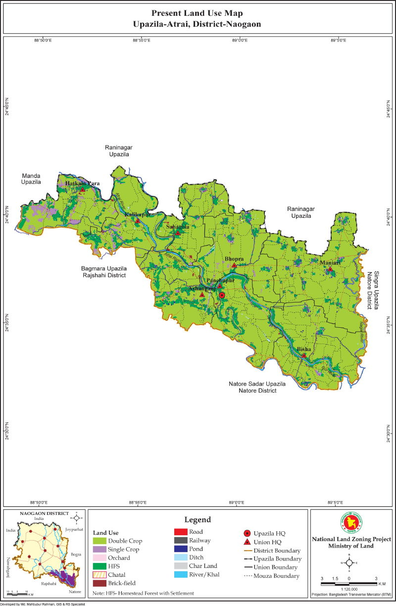 Atrai Upazila Mouza Map Naogaon District Bangladesh