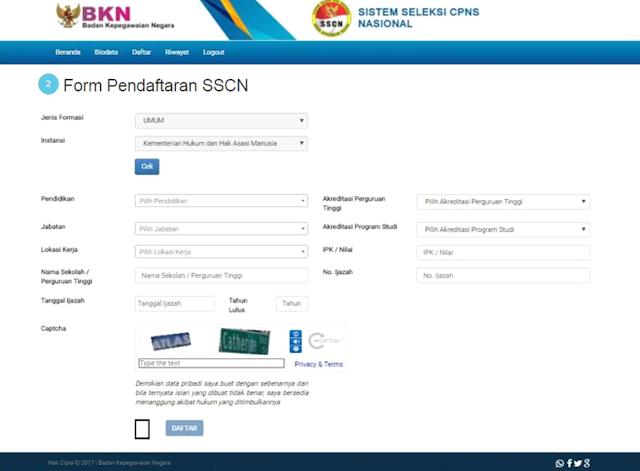 daftar cpns pppk di portal sscn bkn