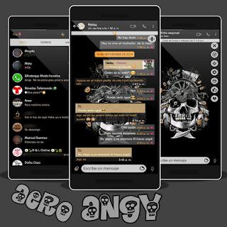 Black Skull Theme For YOWhatsApp & Fouad WhatsApp By Angy