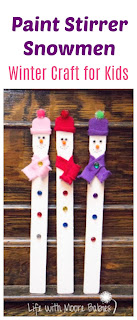 Turn Paint Stirrers into Cute Snowmen