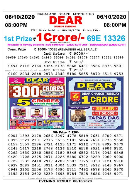 Lottery Sambad Today 06.10.2020 Dear Parrot Evening 8:00 pm