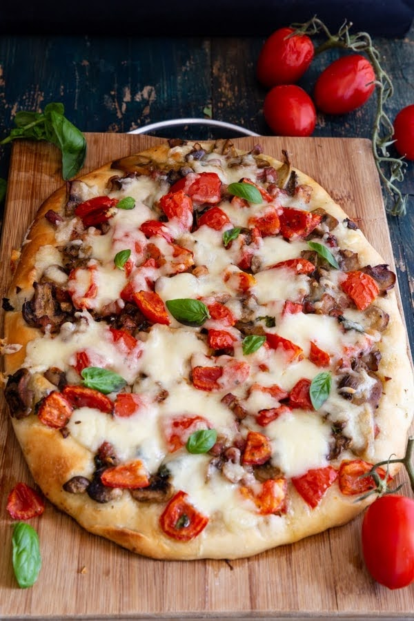 Cheesy Mushroom and Pancetta Pizza | Photo Courtesy of An Italian in My Kitchen