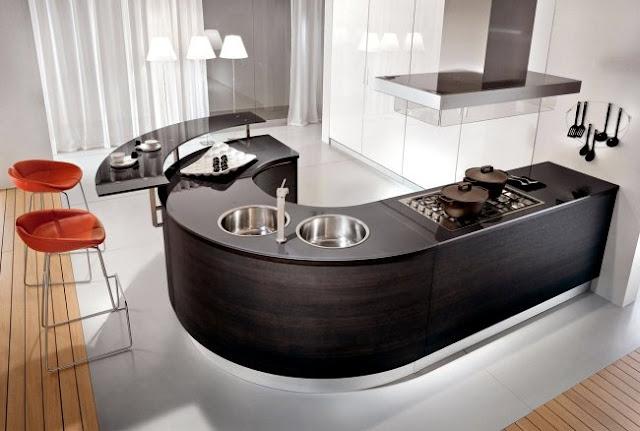 Round shape small space modular kitchen design