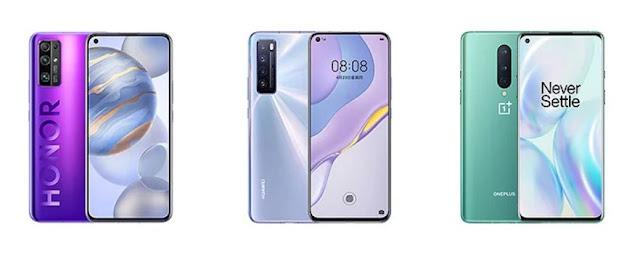 Honor 30, Huawei Nova 7 vs OnePlus 8