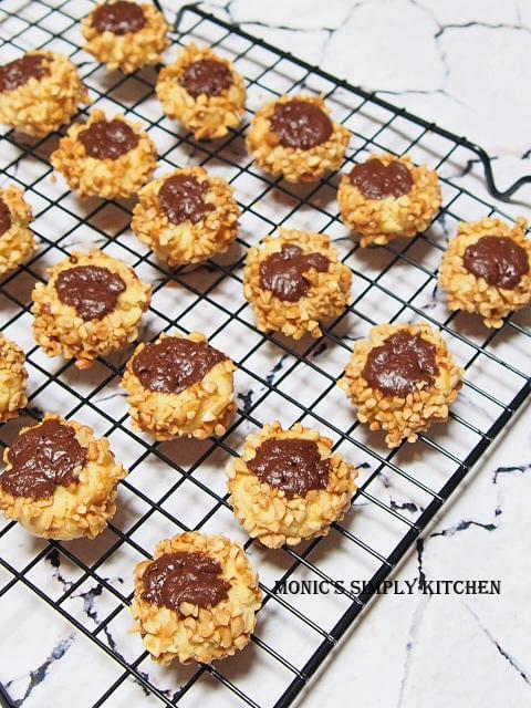 chocolate nut thumbprint cookies