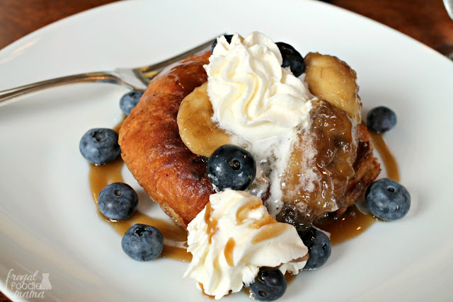 This decadent peanut butter stuffed croissant french toast topped with caramelized bananas was served for breakfast one morning of our stay at Hillbrook Inn & Spa.