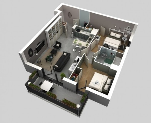 Contoh desain rumah 1 lantai tanpa sekat