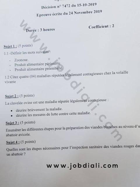 Exemple Concours de Recrutement des techniciens 4ème grade (élevage) 2019 - ONSSA