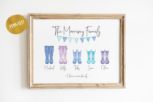FAMILY  WELLY BOOT PERSONALISED PRINT from GameleoStudio on Etsy