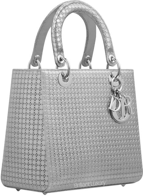 ♦Dior silver perforated Lady Dior bag #dior #bags #ladydior #brilliantluxury