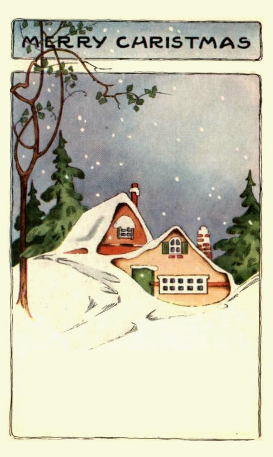Vintage Christmas Cozy Cottages and a Snowman  Free Christmas Images