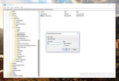 Disable Telemetry Windows 10 via Regedit