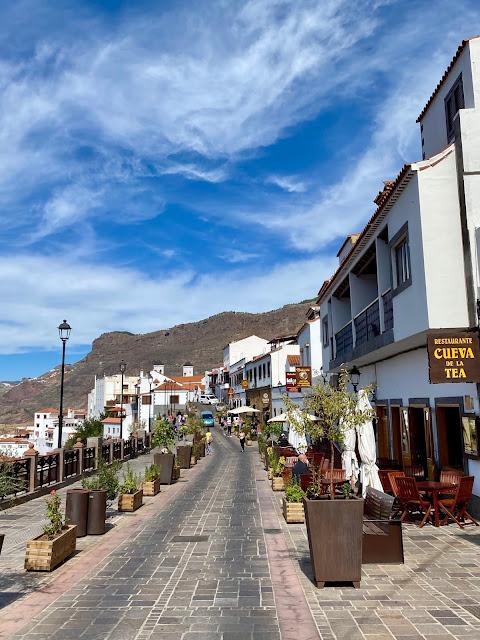 Main street of white buildings in Tejeda, Gran Canaria, Spain
