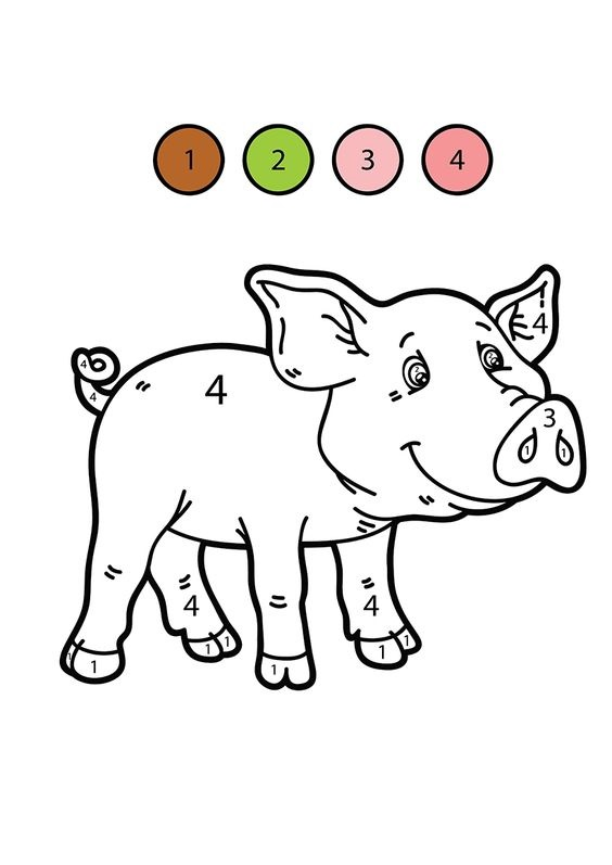 Hình tô màu con lợn theo số