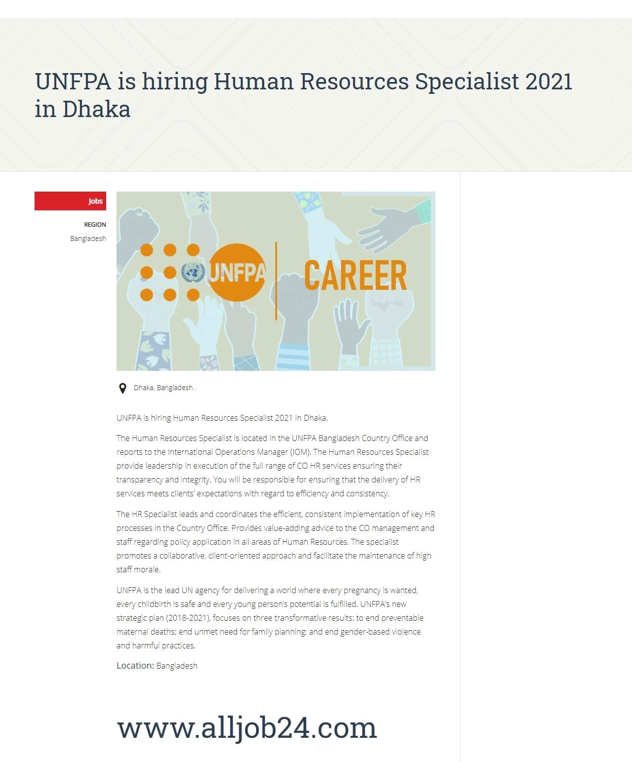 UNFPA job circular in bd 2021