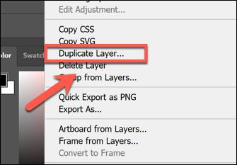 انقر بزر الماوس الأيمن فوق طبقة في قائمة Layers واضغط Duplicate Layer لتكرارها في Photoshop