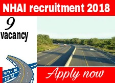 Nhai recruitment notification 2018-2019, 09 vacancies apply now