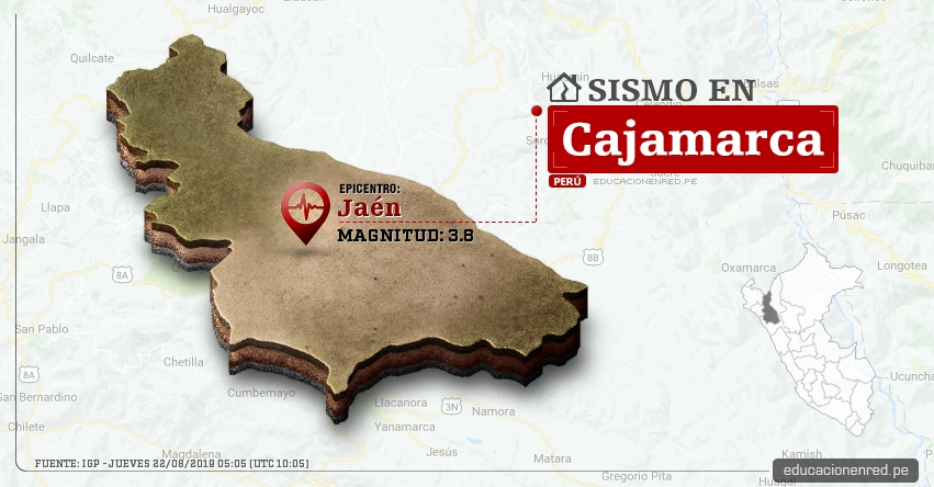 Temblor en Cajamarca de Magnitud 3.8 (Hoy Jueves 22 Agosto 2019) Sismo - Epicentro - Jaén - Cutervo - San Ignacio - Chota - Celendín - Cajabamba - IGP - www.igp.gob.pe