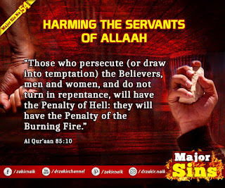 MAJOR SIN. 54. HARMING THE SERVANTS OF Allah
