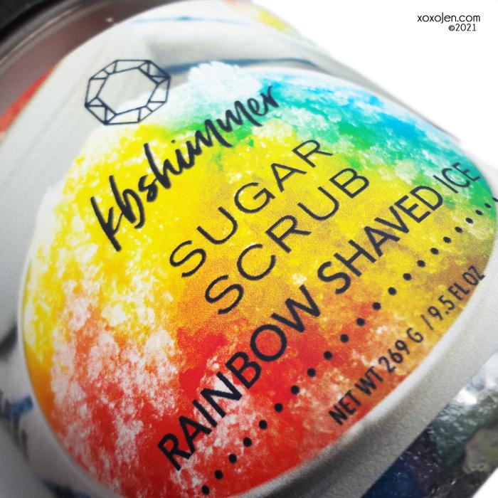 xoxoJen's swatch of KBShimmer Rainbow Shaved Ice sugar scrub
